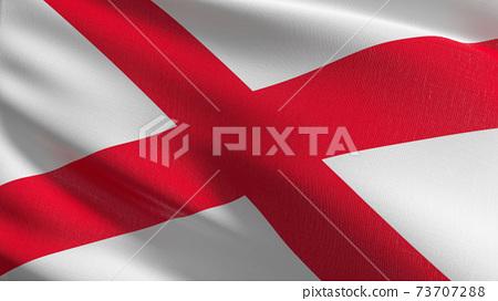 Flag of saint patrick Saltire red cross or Alabama. 3D rendering illustration of waving sign symbol. 73707288
