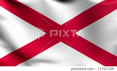 Flag of saint patrick Saltire red cross or Alabama. 3D rendering illustration of waving sign symbol. 73707289