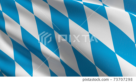 Flag of Bavaria, Germany. 3D rendering illustration of waving sign symbol. 73707298
