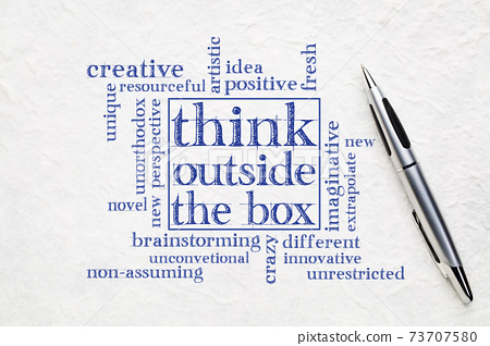 Think outside the box concept 73707580