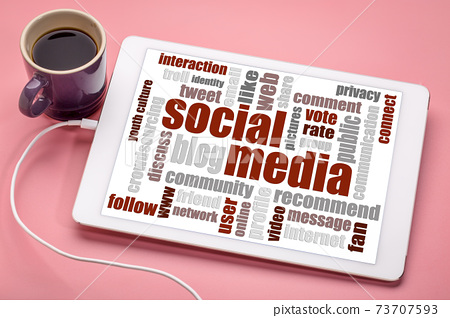 social media and networking word cloud 73707593