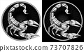 Scorpio zodiac sign, astrological, horoscope symbol. Pixel monochrome icon style. Stylized graphic black white scorpion, raised up sting, pincers, ready to attack. Portrait scorpio in circle. Vector. 73707826