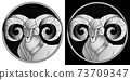 Aries zodiac sign, astrological, horoscope symbol. Pixel monochrome icon style. Stylized graphic black white portrait of stately, proud male sheep, blue big twisted horns. Ram looking to side. Vector. 73709347