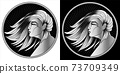 Virgo zodiac sign, horoscope, astrological symbol. Pixel monochrome icon style. Stylized graphic black white portrait in profile of young beauty woman with long, straight hair flowing in wind. Vector. 73709349