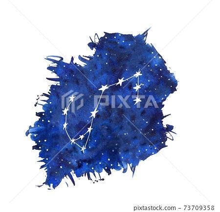 Scorpio watercolor zodiac signs. Hand drawn stars on deep blue galaxy background illustration 73709358