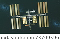 Closeup Earth satellite International Space Station with NASA cosmos discovery. Golden solar panels 73709596