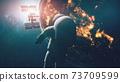 Earth astronaut explorer at city lights. Solar system third planet cosmonaut research flight gravity 73709599