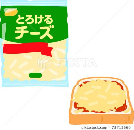 混合奶酪和奶酪吐司在一個袋子裡 73713660