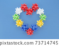 Valentine's Day concept festive love  Heart from colorful artificial Rose Flowers Plastic Ribbon for Decorating Gift in Flat lay with Mockup copy space Festive Background for feminine blogger  73714745