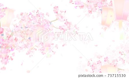 벚꽃과 등불 배경 - 여러 종류가 있습니다 73715530