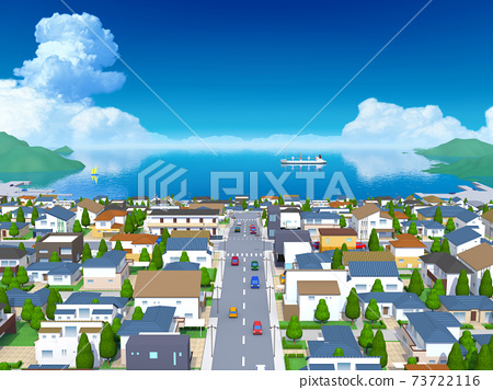 A city with a view of the sea, a house 73722116