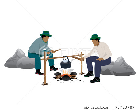 isolated man camping vector design 73723787