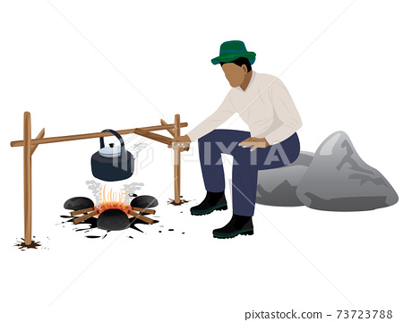 isolated man camping vector design 73723788
