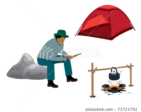 isolated man camping vector design 73723792