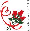 紅色的心形絲帶和紅玫瑰 73725090