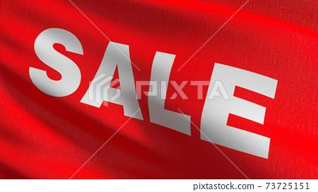 Flag of Sale promotion discount in retail shop. 3D rendering illustration of waving sign symbol. 73725151