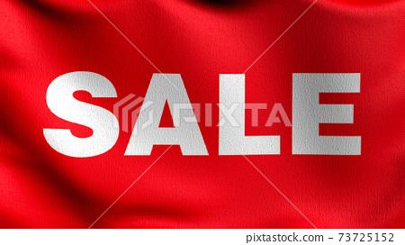 Flag of Sale promotion discount in retail shop. 3D rendering illustration of waving sign symbol. 73725152