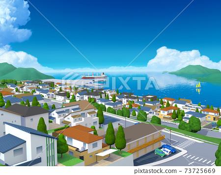 바다가 보이는 거리 풍경 주택가 항구 도시 73725669