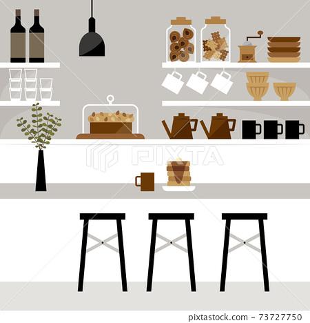 一個咖啡館與櫃檯廚房的插圖 73727750