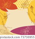 秋葉和手繪花卉背景(方形) 73730955
