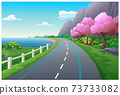 Trees, mountains and sea illustrations 73733082