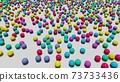 許多五顏六色的球放在地板上 73733436