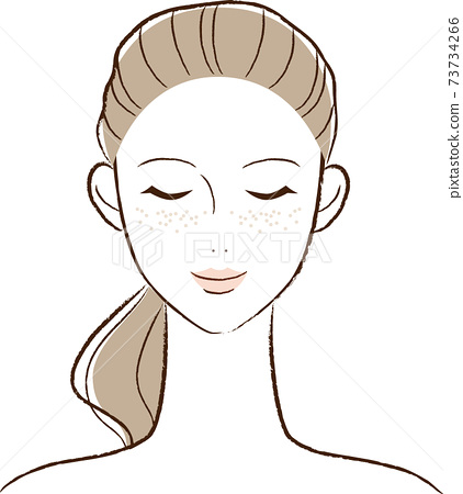 Illustration of a woman with skin problems 73734266