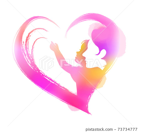 Happy mother's day. Side view of Happy mom with her daughter's silhouette plus abstract watercolor painting. Double exposure illustration. Digital art painting. 73734777