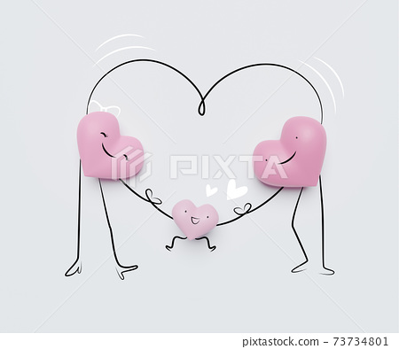 3D of hearts characters as symbols of love and family.  Insurance, Health care  concept. 73734801