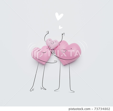 3D of hearts characters as symbols of love and family.  Insurance, Health care  concept. 73734802