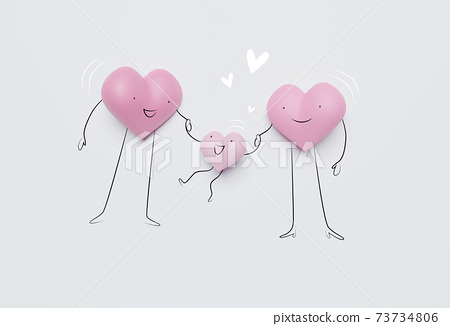 3D of hearts characters as symbols of love and family.  Insurance, Health care  concept. 73734806