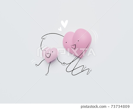3D of hearts characters as symbols of love and family.  Happy Mother's Day.  Insurance, Health care  concept. 73734809