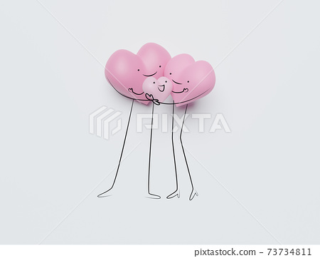 3D of hearts characters as symbols of love and family.  Insurance, Health care  concept. 73734811
