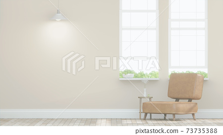 Living room with Leather sofa have pillows, Minimal Rustic, 3D Rendering 73735388