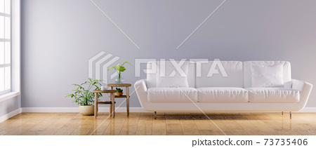 Modern vintage interior of living room, Interior wallpaper mockup - 3D Rendering 73735406