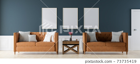 poster mockup with Three  frames on empty, Modern vintage interior of the living room - 3D Rendering 73735419