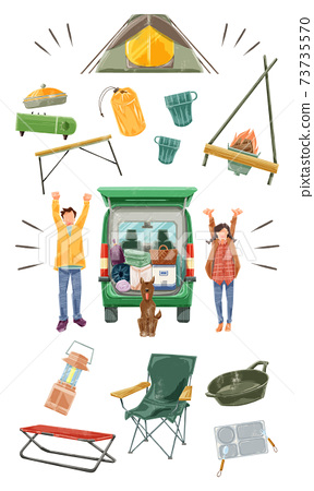Illustration of a couple going camping and camping equipment 73735570
