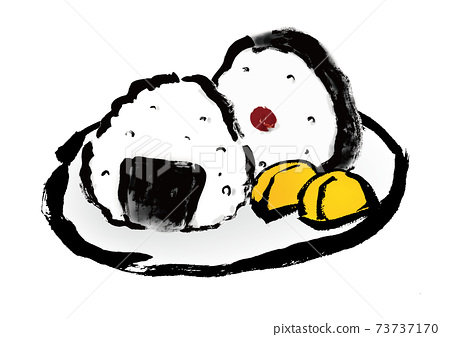 Hand-painted Japanese-style illustration material of 2 rice balls and pickles 73737170