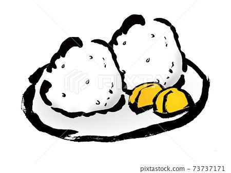 手繪飯糰和泡菜的日式插圖素材 73737171