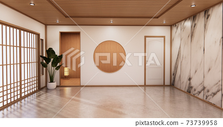 Interior Living room tropical style with wall granite design.3D rendering 73739958