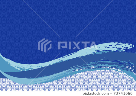 Illustration material Background Japanese style Japanese pattern Simple brush Calligraphy Qinghai wave pattern Wave summer sea 73741066