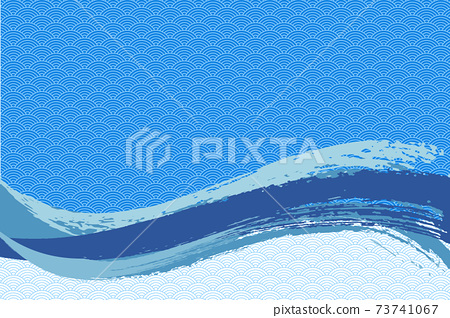 Illustration material Background Japanese style Japanese pattern Simple brush Calligraphy Qinghai wave pattern Wave summer sea 73741067