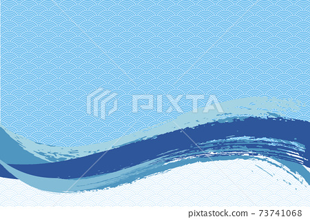 Illustration material Background Japanese style Japanese pattern Simple brush Calligraphy Qinghai wave pattern Wave summer sea 73741068