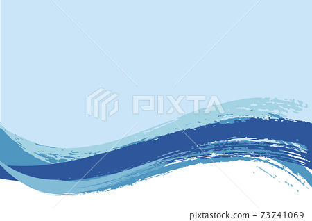 Illustration material Background Japanese style Japanese pattern Simple brush Calligraphy wave Summer sea 73741069