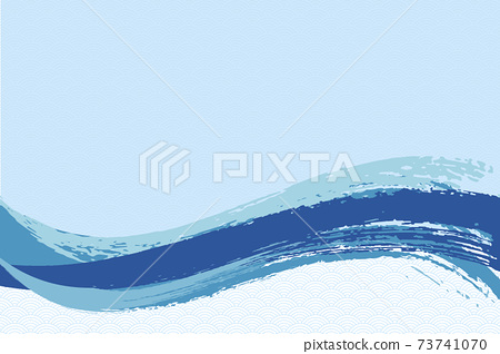 Illustration material Background Japanese style Japanese pattern Simple brush Calligraphy Qinghai wave pattern Wave summer sea 73741070