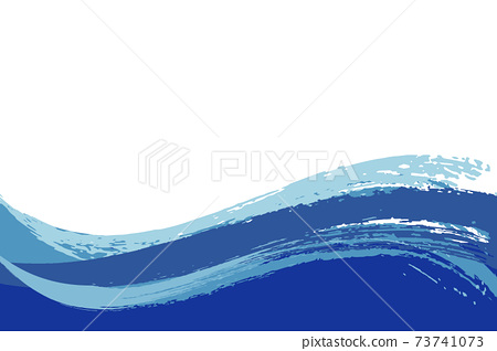 Illustration material Background Japanese style Japanese pattern Simple brush Calligraphy wave Summer sea 73741073