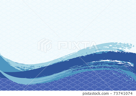 Illustration material Background Japanese style Japanese pattern Simple brush Calligraphy Qinghai wave pattern Wave summer sea 73741074