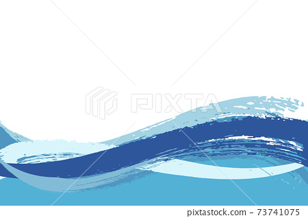 Illustration material Background Japanese style Japanese pattern Simple brush Calligraphy Qinghai wave pattern Wave summer sea 73741075