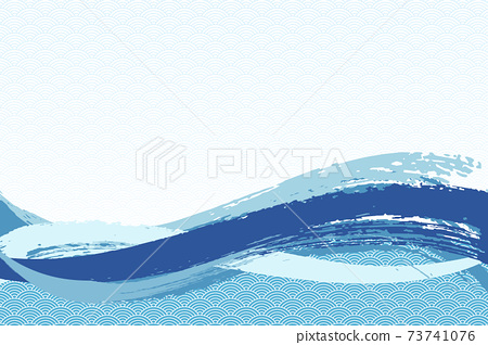 Illustration material Background Japanese style Japanese pattern Simple brush Calligraphy Qinghai wave pattern Wave summer sea 73741076
