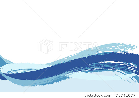 Illustration material Background Japanese style Japanese pattern Simple brush Calligraphy wave Summer sea 73741077